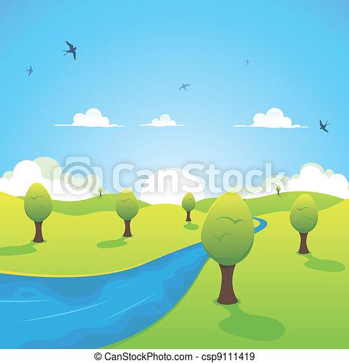 春天, 夏天, 飛行, 或者, 河, 燕子 - csp9111419