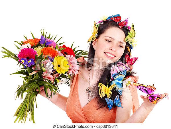 春, ヘアスタイル, フラワー・ガール, butterfly. - csp8813641