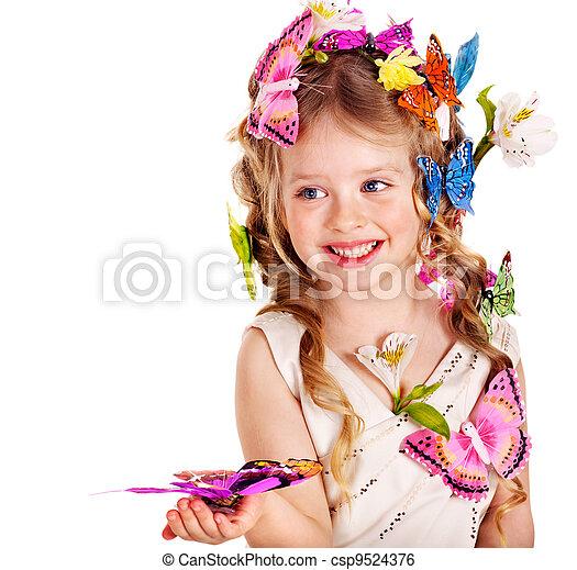 春, ヘアスタイル, butterfly., 子供 - csp9524376