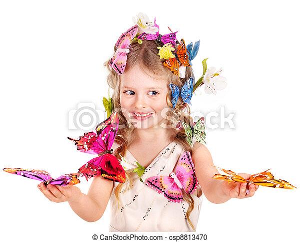 春, ヘアスタイル, butterfly., 子供 - csp8813470
