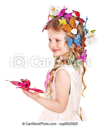 春, ヘアスタイル, butterfly., 子供 - csp9523920