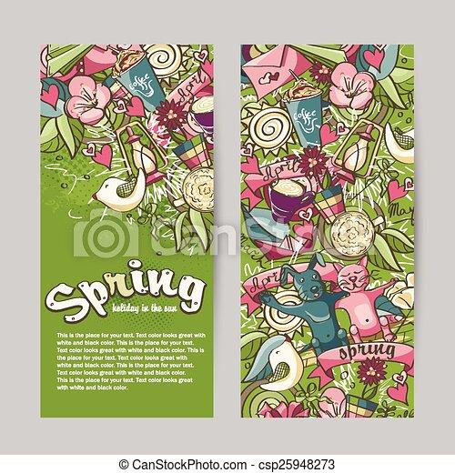 春, 主題, セット, 旗, 縦 - csp25948273