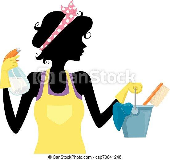 春, 女の子, シルエット, 清掃, イラスト - csp70641248