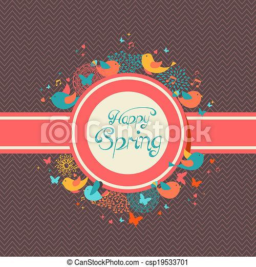 春, 幸せ, 型, イラスト, ラベル - csp19533701