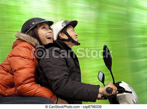 春, 恋人, 自転車, 時間, 乗馬, 幸せ - csp8796339