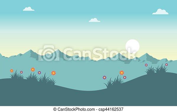 春, 日の出, 風景 - csp44162537