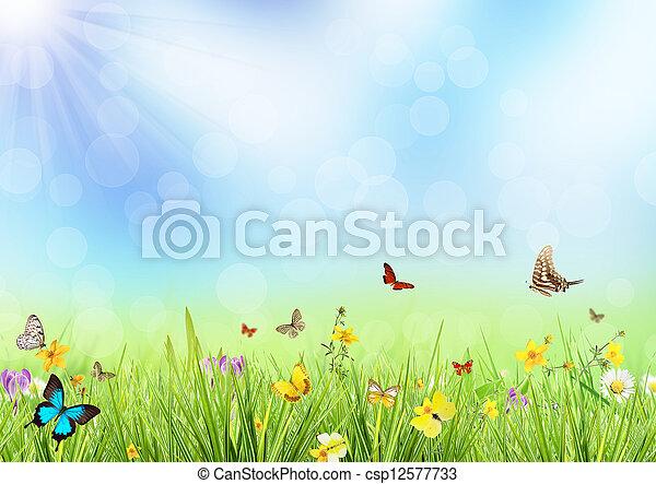 春, 牧草地 - csp12577733