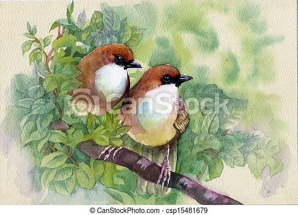 春, 絵, 鳥, コレクション - csp15481679