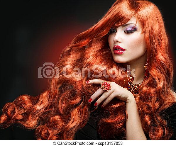 時裝, 卷曲, 長的頭髮麤毛交織物, portrait., hair., 女孩, 紅色 - csp13137853