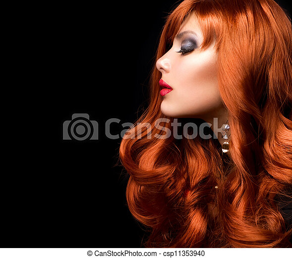 時裝, 波狀, hair., 肖像, 女孩, 紅色 - csp11353940