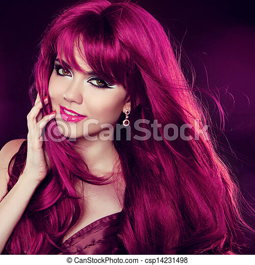 時裝, hairstyle., 美麗, 卷曲, 長, hair., 肖像, 女孩, woman., 紅色 - csp14231498
