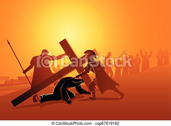 時間, 第3, 落ちる, イエス・キリスト - csp67619162