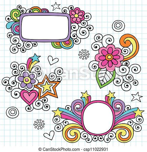 時髦, 框架, 邊框, doodles - csp11022931