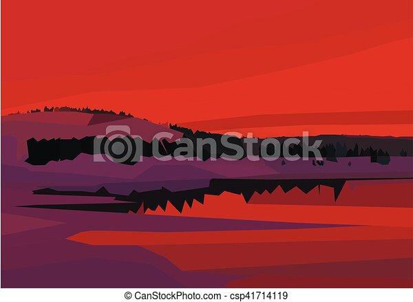 景色。, 多角形, 山, 湖, 木, 色, 赤 - csp41714119
