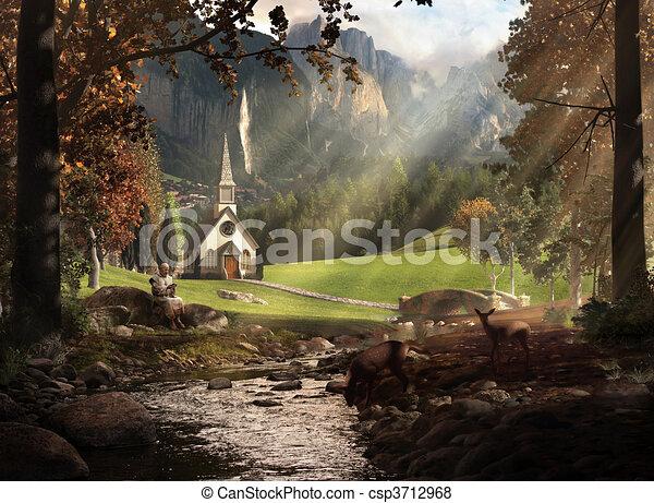 景色, 教会 - csp3712968