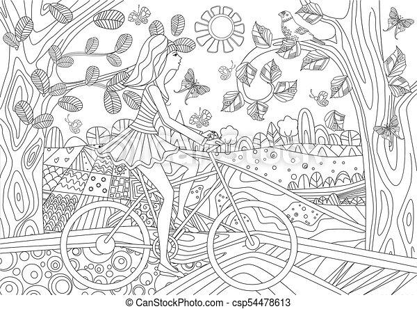 景色, co, 森林, 摆脱自行车, 女孩, 可爱, 你 - csp54478613