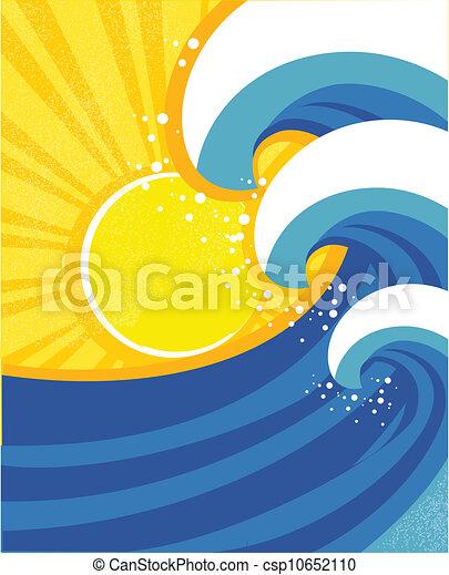 景色。, poster., イラスト, ベクトル, 海, 波 - csp10652110