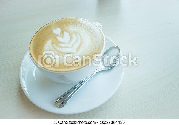 暑い, カップ, コーヒー, latte - csp27384436