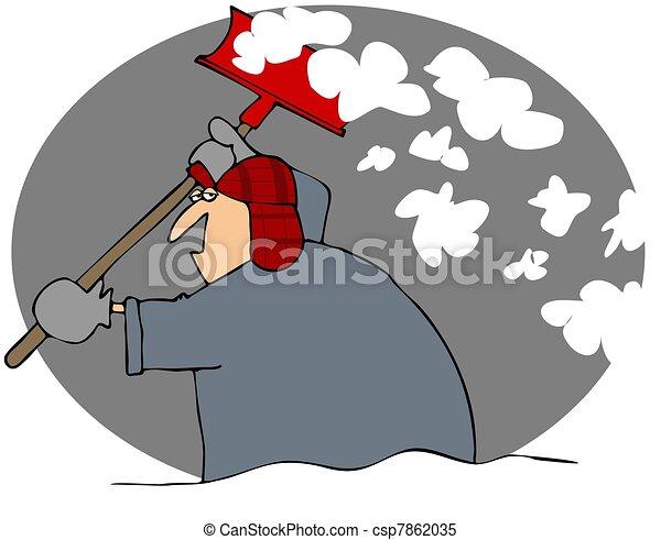暗い シャベルで掘ること 雪男 シャベル これ 雪 イラスト 投げる