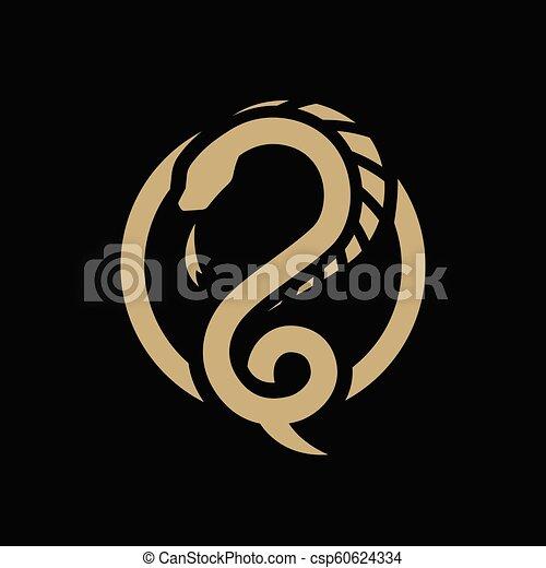 暗い, シンボル, ドラゴン, バックグラウンド。, ヘビ, ラウンド, ロゴ - csp60624334