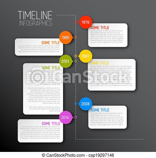 暗い, タイムライン, レポート, infographic, テンプレート - csp19297146