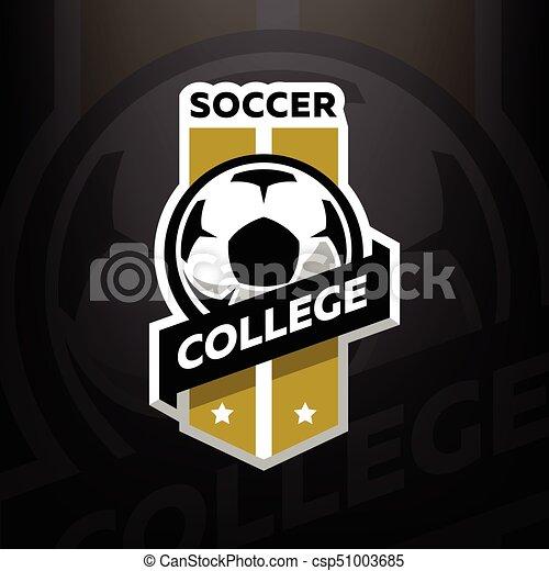 暗い, バックグラウンド。, サッカー, 大学, ロゴ - csp51003685