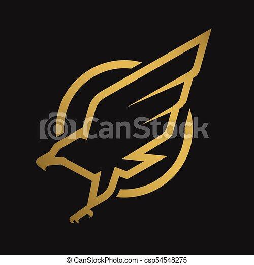 暗い, ワシ, 紋章, ロゴ, バックグラウンド。 - csp54548275