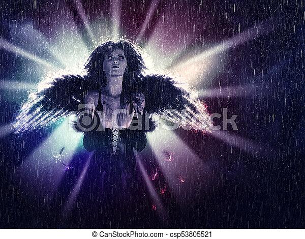 暗い, 天使, 雨 - csp53805521