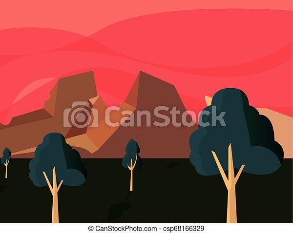 暗い, 山, 自然, 木, 風景 - csp68166329