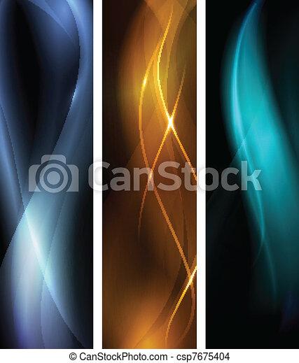 暗い, 抽象的, セット, 旗, 波 - csp7675404