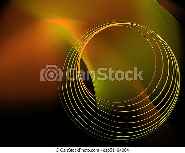 暗い, circles., 緑の背景, 技術的である, オレンジ - csp51194064