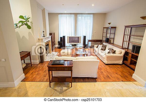 暮らし, 中, 部屋, 高い, 家 - csp25101703