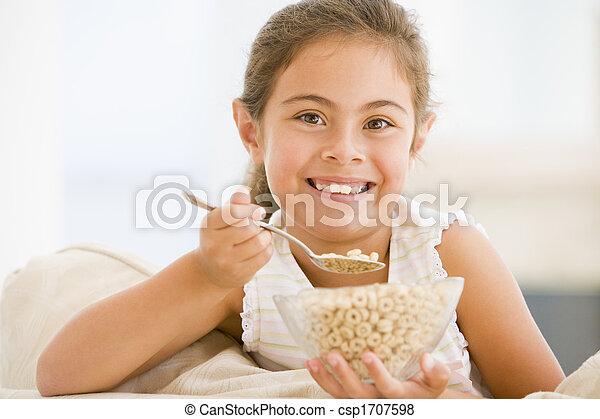 暮らし, 食べること, 部屋, 若い, シリアル, 女の子の微笑 - csp1707598