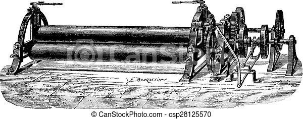 曲がること, 型, 回転, 製粉所, シート, engraving. - csp28125570