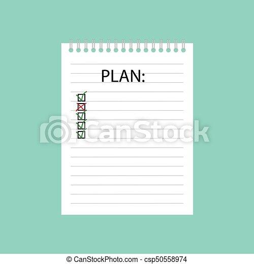 書かれた, ノート, らせん状に動きなさい, 計画 - csp50558974