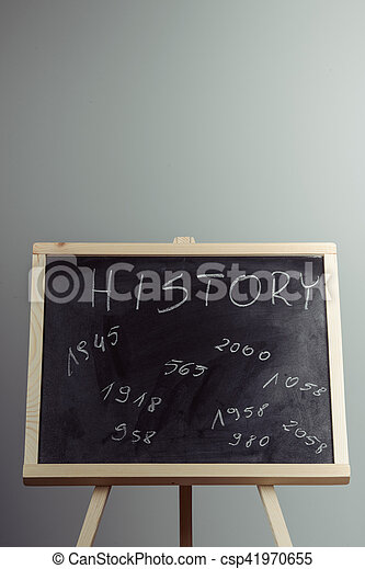 書かれた, 歴史, チョーク, 白, blackboard. - csp41970655