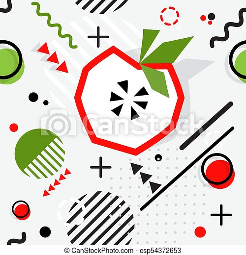 最新流行である, seamless, ベクトル, メンフィス, パターン, スタイル, 幾何学的, アップル - csp54372653