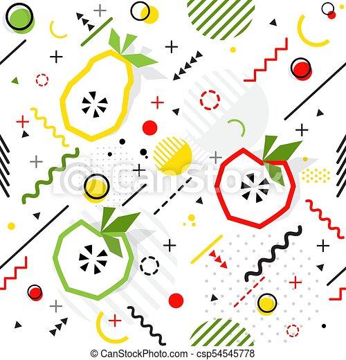 最新流行である, seamless, ベクトル, メンフィス, パターン, スタイル, ナシ, 幾何学的, アップル - csp54545778