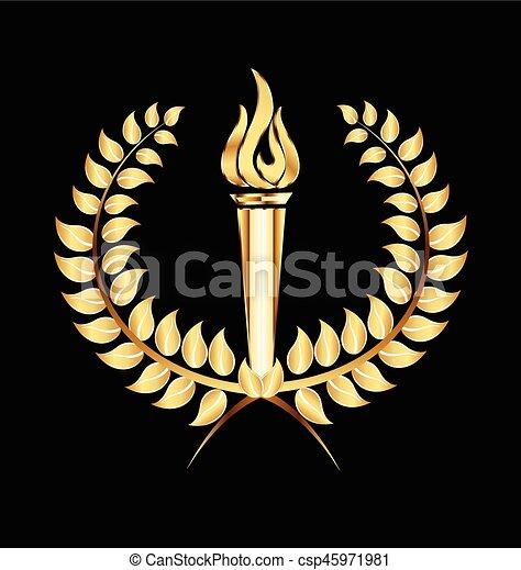 月桂樹, トーチ, 炎, 金, ロゴ - csp45971981