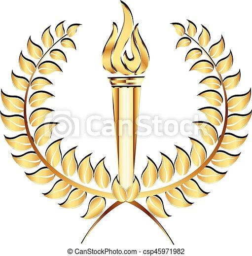 月桂樹, トーチ, 炎, 金, ロゴ - csp45971982