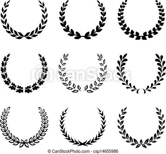 月桂樹, wreaths., セット, 黒, 2. - csp14655986