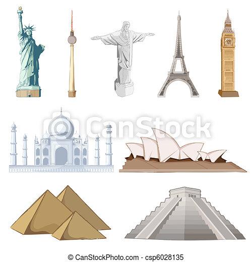 有名, セット, のまわり, 世界, 記念碑 - csp6028135