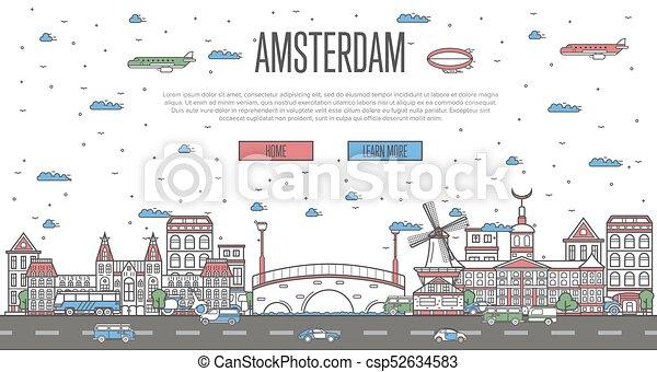 有名, ランドマーク, スカイライン, 国民, アムステルダム - csp52634583