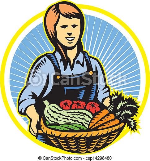有機体である, 農場の農産物, レトロ, 農夫, 収穫 - csp14298480