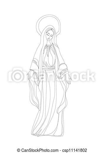 有福, 外形, 處女, 黑色, mary, 白色, 圖畫 - csp11141802