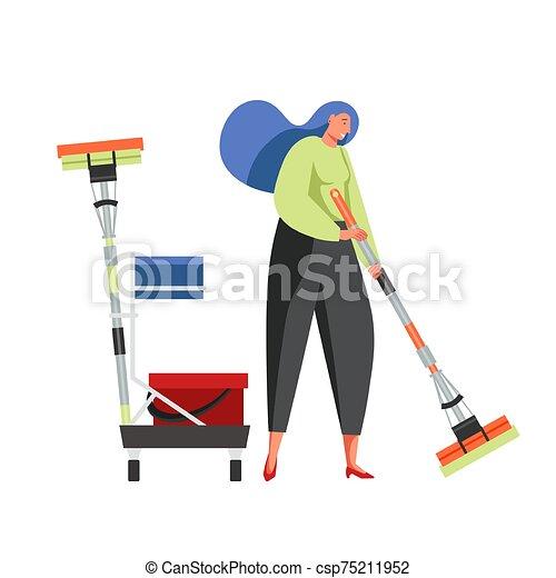服务, 套间, 打扫, 矢量, 隔离, 描述, 商业 - csp75211952
