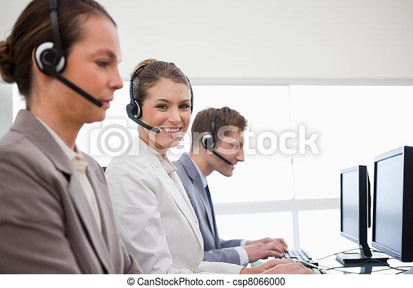 服務, 辦公室, 雇員, 電話, 側視圖 - csp8066000