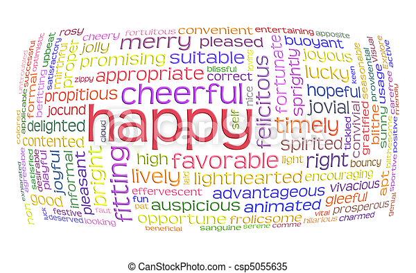 朗らかである, 単語, 雲, 幸せ - csp5055635