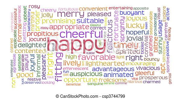 朗らかである, 単語, 雲, 幸せ - csp3744799