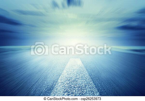 朝向, 瀝青, 運動, light., 長的道路, 速度, 空 - csp26253973